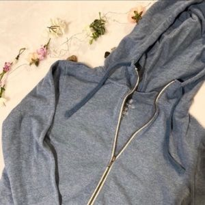 BLUE ZIP UP JACKET WITH THUMB HOLES